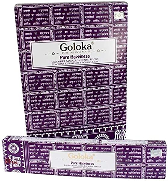 Goloka Pure Hapiness Lavender Incense Sticks 12 Boxes Of 15 Grams 180 Grams Total