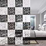 ANMINY 24 PCS Hanging Room Divider Flower Carving Pattern Panels Decorative Wall Screen Panel Hollow Out Design for Living Dining Room Kitchen Bedroom Office Restaurant Home Hotel Decor - Black+White