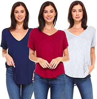 Women's 3-Pack V-Neck Boyfriend Basic Casual Loose Relaxed Fit Boy Tee Shirts Tops