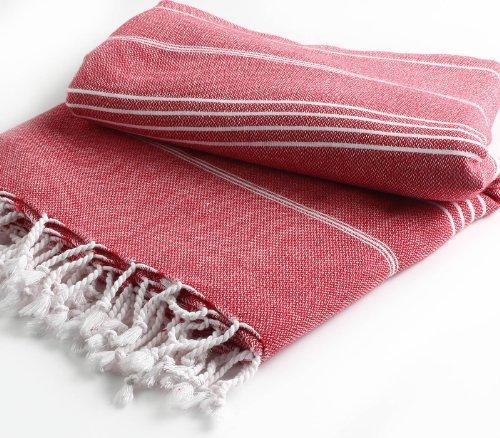 Cacala Pure Serie Turco Peshtemal Manta, algodón, Rojo, 150 x 200 x 0.5 cm