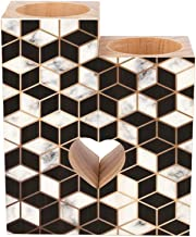 Romantic Wooden Heart Shaped Couple Candle Holders, Modern Luxurious Marbling Surface Golden Lines Geometric Black White C...