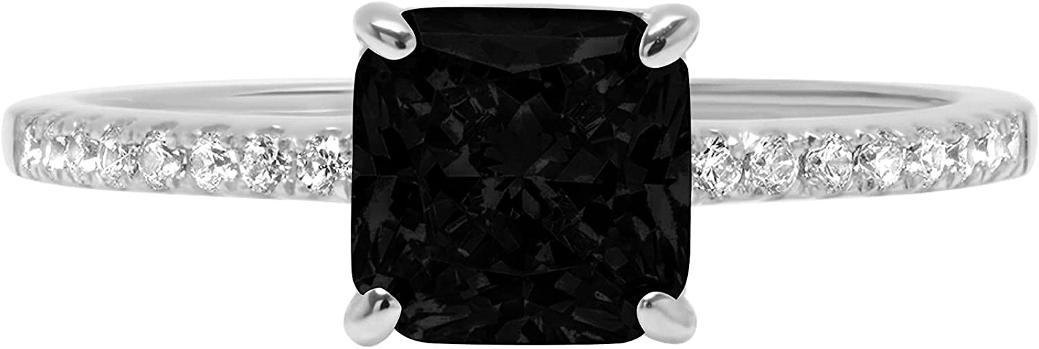 1.66ct Brilliant Asscher Cut Solitaire Accent Genuine Flawless Natural Black Onyx Gemstone Engagement Promise Anniversary Bridal Wedding Ring Solid 18K White Gold