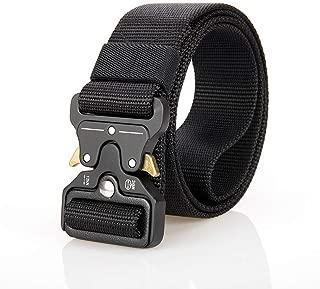 Men's Tactical Belt - 49 Inch Adjustable Military Nylon Belts with Heavy Duty Metal Buckle Black
