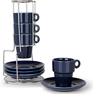 Pumxi Espresso Cups Set of 4 Porcelain Coffee Cups 95ML with Saucers and Metal Stand for Espresso, Tea - Dark Blue