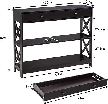 COSTWAY Table de Console à 3 Niveaux, Table d'Appoint avec 1 tiroir et 2 Étagères de Rangement de Motif en X, pour Couloir, S