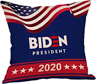 Homesister 18x18 Inch Biden 2020 American President Patriotic Square Linen Burlap Throw Pillow Case with Decorative Pillow Case for Couch, Car, Bedrooms and Sofas - 1 PCS