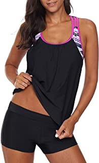 FIYOTE Women Floral Blouson Swimwear T-Back Tankini Top with Boyshorts Set Swimsuits Medium Size Rosy