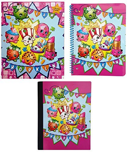 Shopkins Back to School Supplies 'Go Team' Theme Bundle of 3: One 2-Pocket Glossy Portfolio Folder, One 70 Sheet Wide Ruled Spiral Notebook and One 100 Sheet Wide Ruled Composition Book