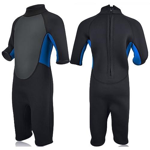 e0cc2fbab8 Realon Kids Wetsuit Shorty Full 3mm Premium Neoprene Lycra Swimsuit Toddler  Baby Children and Girls Boys