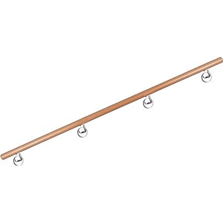 lackiert 0,50m mit stabilen Halter aus Edelstahl Handlauf Buche 36 L/ängen zur Auswahl !