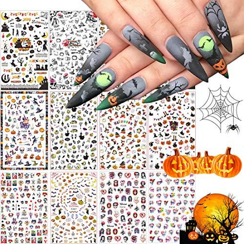 1500+ Patterns Halloween Nail Art Sticker Decals, Kalolary Self-Adhesive Nail Sticker Decals Nail Art Decorations for Halloween Pumpkin/Bat/Ghost/Witch/Joker/Skull/Spider/Devil/Vampires(12 Sheets)