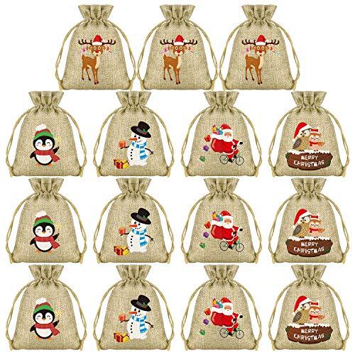 KUUQA ギフトバッグ クリスマス ラッピング袋 巾着袋 15PCS サンタさん 雪だるま トナカイ ペンギン お菓子バッグ プレゼント入れ 小物入れ 収納袋