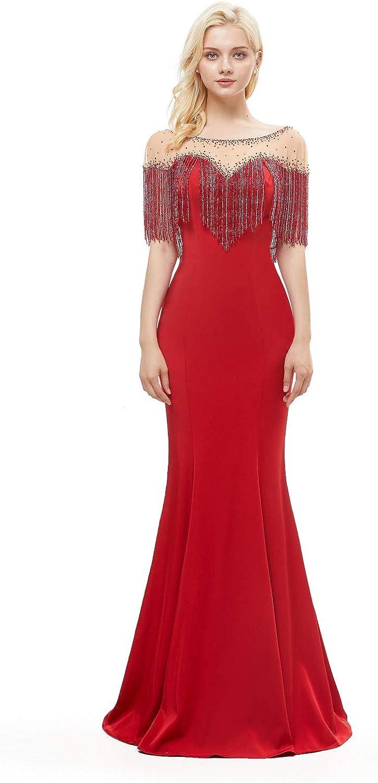 Leyidress Tassel Evening Dress Mermaid Prom Dress Red Crystal Fringe Dress for Women Wedding Party