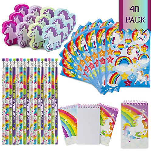 Favinor™ Unicorn Stationary Party Souvenirs Favors 48 Gift Pack – 12 Erasers – 12 Themed Booklets – 12 Pencils – 12 Stickers - Kids Birthday Party Supplies Bulk Set - Ideal As Party Favor, Reward Prizes, carnival And Events