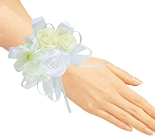 Pack of 4 Wedding Girl Bridesmaid Wrist Corsage Hand Flower Party Prom Accessories White