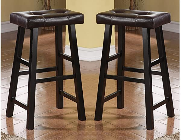 Bobkona Drake Set Of 2 Country Series Bar Stool 29 H In Espresso Finish With Faux Leather