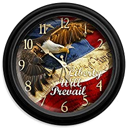 Liberty Will Prevail Classic Wall Clock, 16-Inch