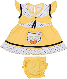 Hopscotch Baby Girls Cotton Short Sleeves Embroidery Dress with Bloomer in Yellow Color