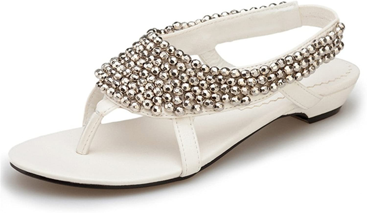 Sandals, clip toe pastoral sandals   shiny special flat feet rhinestone large size women's shoes ( color   White , Size   5.5 B(M)US )