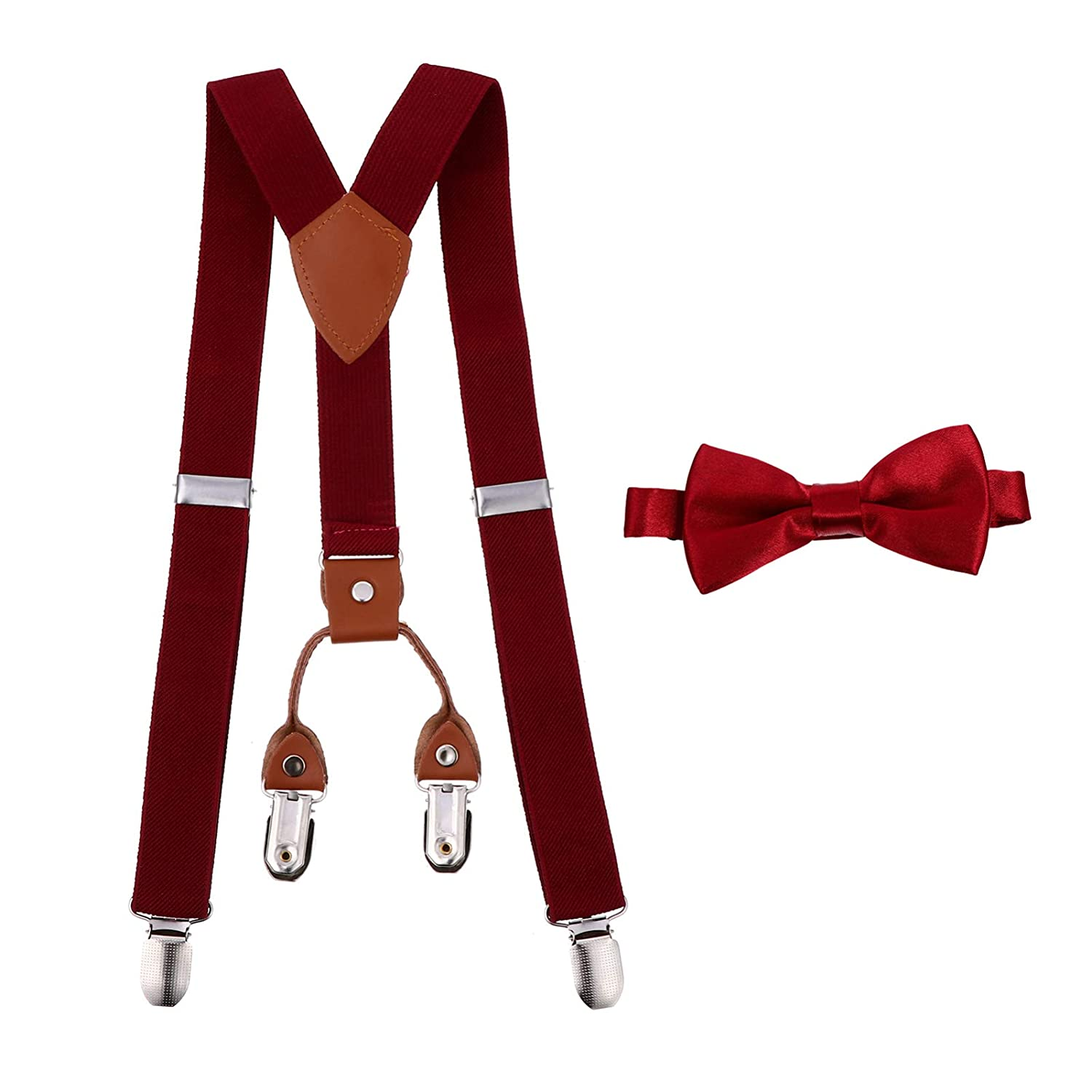 NUOBESTY Suspenders Bow Tie Set Red, Toddler Kids Adjustable Suspenders and Matching Bow Tie Set 4 Clips Suspenders and Matching Bow Tie Set- 40 to 65cm