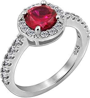 [Amazon Collection] Amazon Collection 镀白金 纯银 圆形模拟 红宝石 对戒、尺寸9