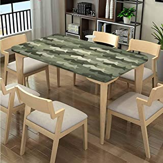 Elastic Edge Wrinkle Free Tablecloths , Mosaic Grunge Camo Worn Pattern printing, Elastic on The Corner Spillproof Fabric Tablecloth Fits Rectangular Tables:48