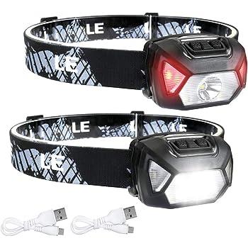 LE Lampe Frontale Super Lumineux 2000lux 6 Modes, Lumière Frontale Concentrée & Diffusée Torche Frontale USB IPX6 Étanche Distance 150 M Légère pour Enfants Adultes (Lot de 2)