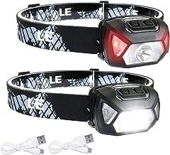 LE USB oplaadbare koplamp, 1300 lux LED XPG LED-koplamp D500 met 6 lichtmodi koplampen en rood licht, licht en super helde...