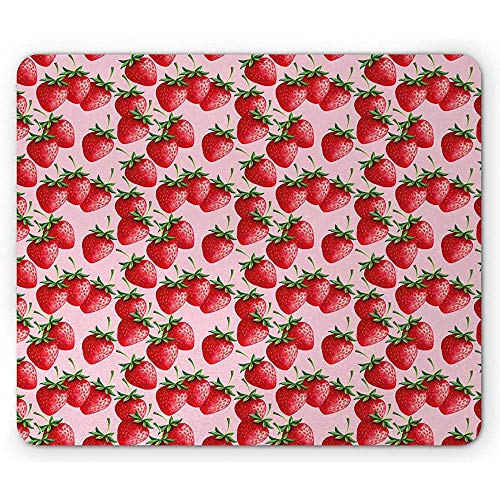 Red Mouse Pad, köstliche große Erdbeeren auf rosa Hintergrund leckere saftige reife Sommerfrüchte, rot grün