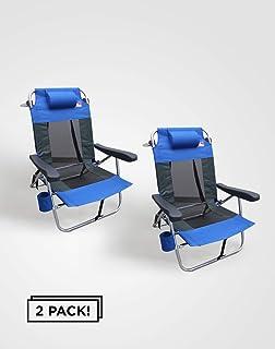 Outdoor Spectator Multi-Position Flat Folding Mesh Ultralight Beach Chair (2-Pack)