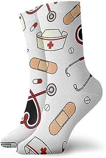 Warm-Breeze, Calcetines casuales de la enfermera de la enfermera médica Calcetines lindos del tobillo Calcetines de compresión del vestido corto para mujeres Hombres