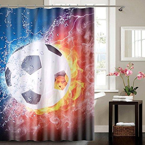 VAELSON Duschvorhang 180x180 cm This is Football Fußball incl. Ringe mit verstärkte Lochleiste und Gewichtsaum Antibakteriell Antischimmel