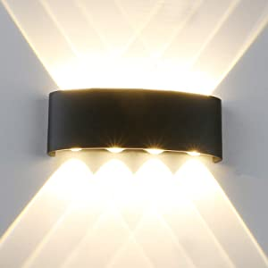 Modern LED IP65 Waterproof Exterior Wall Lamp with Backing Plate, Yosoan 8W 86V-265V Warm White 3000K Aluminum Indoor Outdoor Surface Mount Rainsafe Matte Black Up Down Porch Staircase Hallway Garage