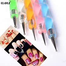 CLAVUZ 5pcs/lot 2 Way Marbleizing Dotting Painting Pen Manicure Tools Set Nail Art Design Dotting Pen Tool