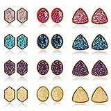 Hanpabum 12 Pairs Faux Druzy Stud Earrings Fashion Bohemian Glitter Pierced Earrings Set for Women Girls