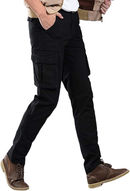 Cicilin Men's Retro Cargo Pants Cotton Casual Combat Slim Work Pants (No Belt)