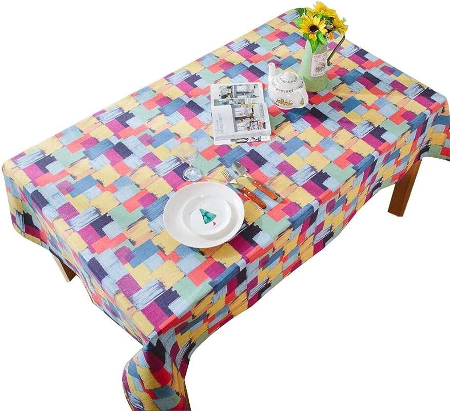 Daliuing Tablecloth Multicolor Chequer Printing Graffiti Cotton Hemp Rectangular Coffee Table Cloth 40x60cm