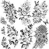 Kotbs 6 Sheets Large Sexy Flower Rose Temporary Tattoos for Women Girls Adults, Body Art Fake Arm Tattoo Stickers, Waterproof Black Floral Tattoo Temporary Chrysanthemum Tatoos