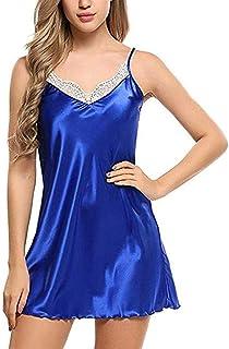 RANRANJJ Lingerie Dress for Womens Women Sexy Lace Lingerie Nightwear Underwear Robe Babydoll Sleepwear Dress (Color : Blu...