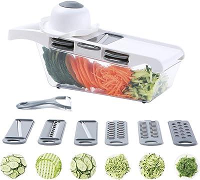 Mandoline Slicer Henmos 10 Pieces Mandolin Slicer Vegetable Slicer Veggie Slicer Julienne Shredder Cheese Grater Cutter Peeler with Large Container