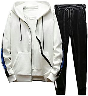 67583f98a525b Joe Wenko Men Sport Velour Hooded Casual Sweatshirt and Pants 2 Piece  Sweatsuit Set