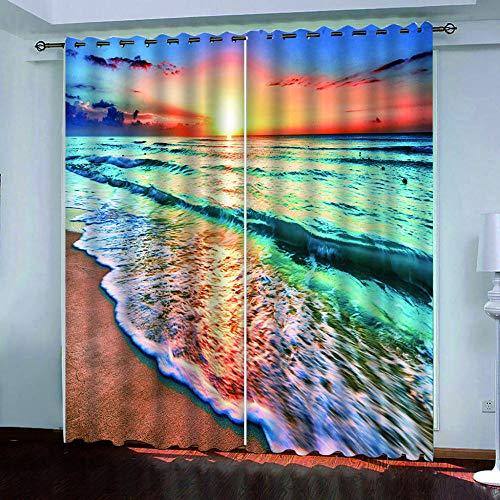 CURTAINSCSR 3D gedruckte Vorhang Sonnenuntergang Meerblick Thermovorhang Verdunkelungsgardine Lichtundurchlässige Vorhang mit Ösen für Schlafzimmer Wohnzimmer Geräuschreduzierung 2Panel75x166cm