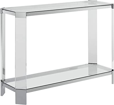 Benjara 48 Inch Contemporary Metal and Glass Console Table with Acrylic Legs, Clear