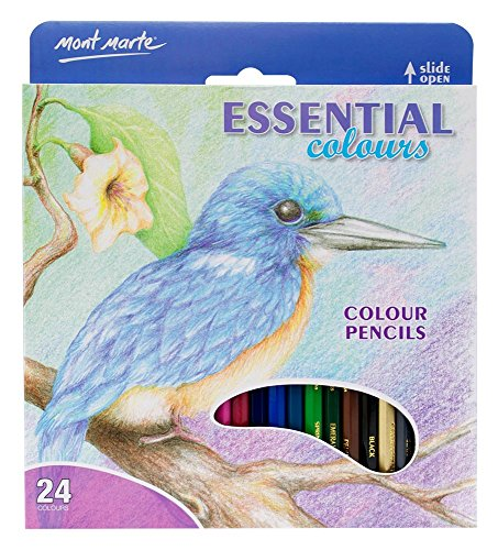 Mont Marte Essential Colors Pencils, 24 Piece. Easy to Blend and Suitable for All Skill Levels.