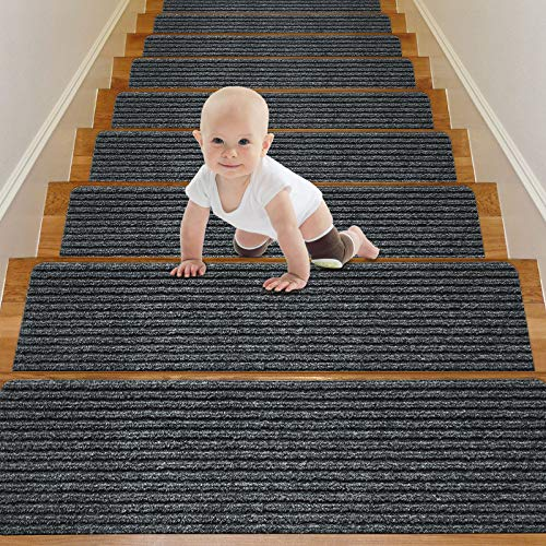 Wotoban Stair Treads Carpet Non Slip Indoor Set of 15 Carpet Stair Treads 8' X 30' Stair Rugs Mats Runners Safety Slip Resistant for Kids, Elders and Dogs, Grey