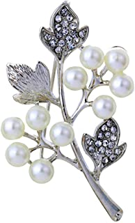 YAZILIND Mujeres joyería Regalo Blanco Perla de la Hoja de Arce de la Broche Jewerly