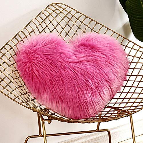 Pink Faux Fur Love Heart Throw Pillow Couch Sofa Bed Decorative Cushion Fluffy Luxury Plush Pillow Boho Home Decor 16'x20'