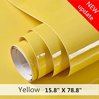 Yellow Contact Paper Shiny Point Vinyl Self Adhesive Film Decorative Home Peel and Stick Wallpaper for Kitchen Countertops Cabinets Wardrobe Furniture (15.8