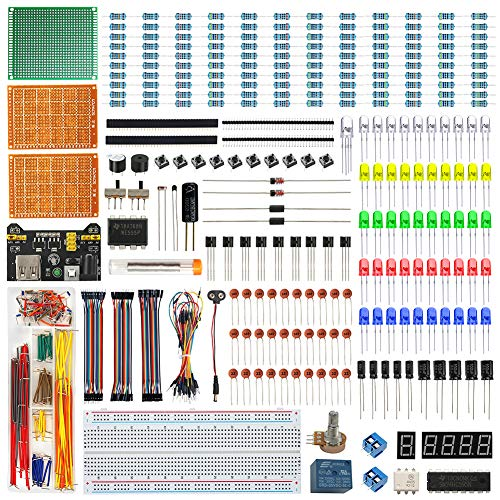 WayinTop Elettronica Starter Kit con Tutorial Italiano, Breadboard Jumper Filo Kit, PCB Board Kit, LED Diodi & Resistori Kit per Arduino