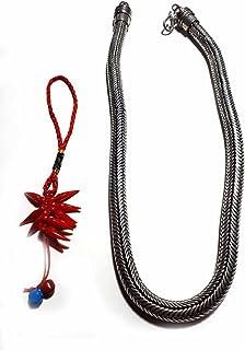 Collana Tonda 48 50 cm Spessore 7-8 mm 150gr Minimo Snake Bagno Argento Indiano Ottone Bagnato Omaggio amuleto corni